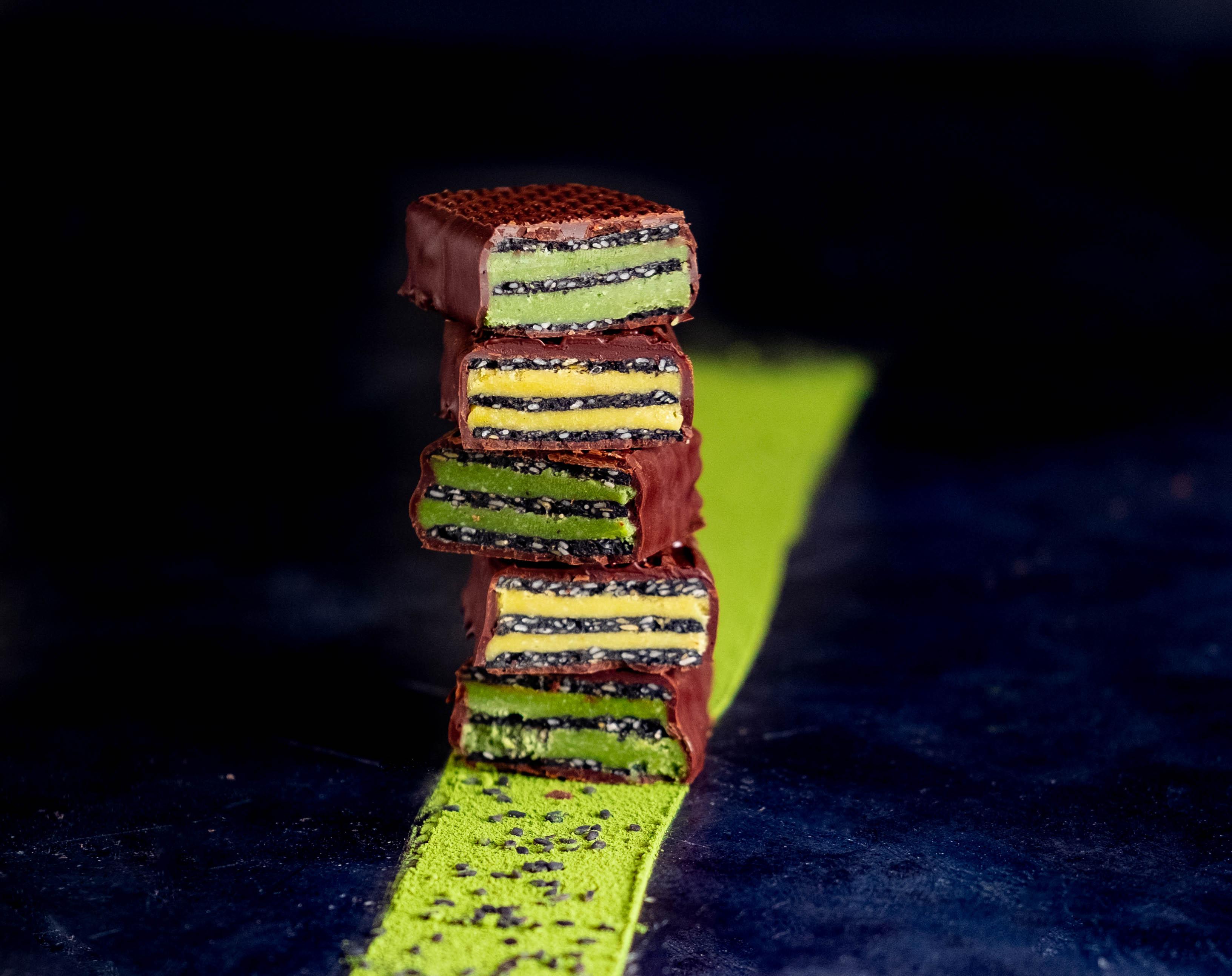 Black Sesame Matcha & Passion Fruit Candy Bars