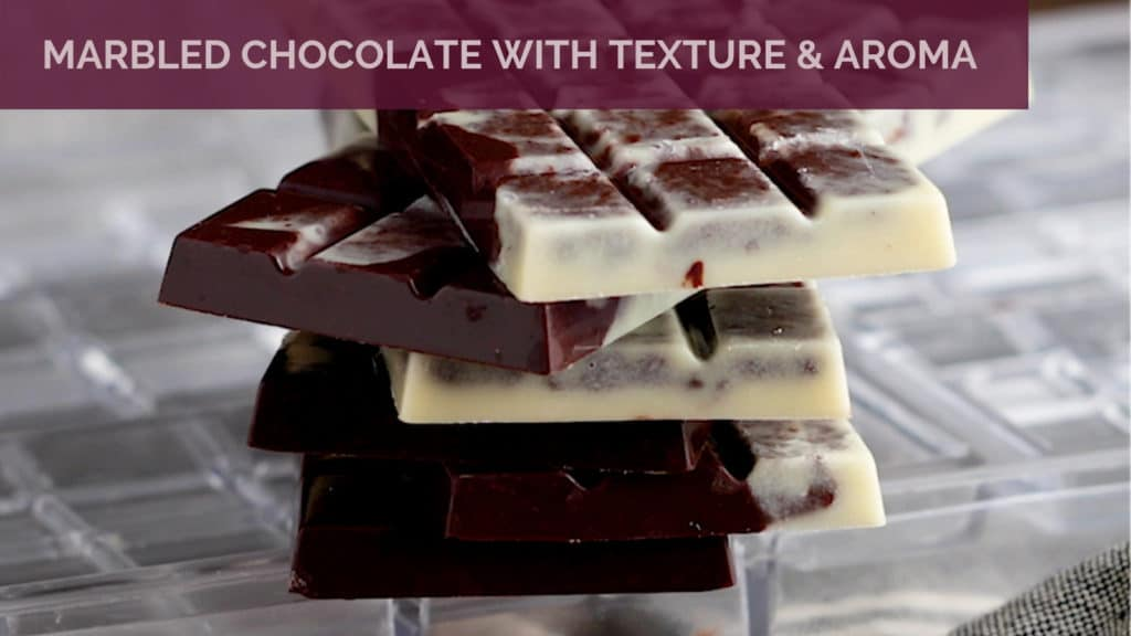 Chocolate Bars Swirled with White and Dark Chocolate on a polycarbonate mould